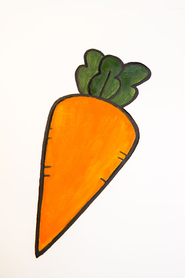 how to draw a cartoon carrot