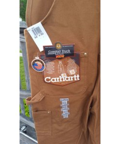 Men's Carhartt Carpenter Zip Overall Wheat 100% Cotton 34x32 sz