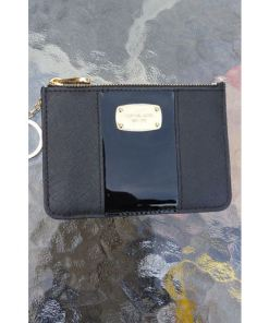 Michael Kors Black Top Zip Coin Pouch Card Case with ID Window