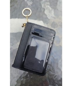 Michael Kors Black Top Zip Coin Pouch Card Case with ID Window2