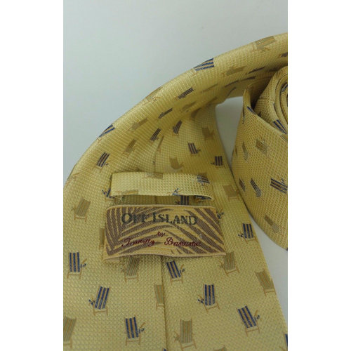 Off Island by Tommy Bahama Yellow Silk Wide Tie Beach Chair 20557 Mens loop