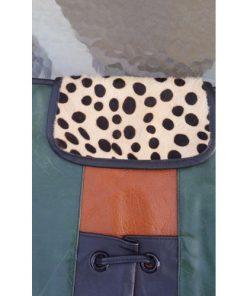 Vintage Ronald Furst Design Shoulder Messenger Bag Cheetah Print Fur Flap design
