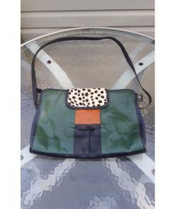 Vintage Ronald Furst Design Shoulder Messenger Bag Cheetah Print Fur Flap