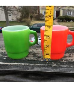 ANCHOR HOCKING Vintage Set of 4 Mugs Multi-Colored Oven Proof Made In USA measured