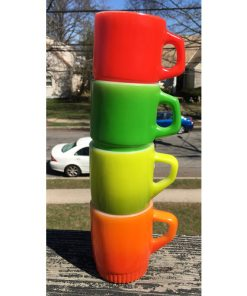 ANCHOR HOCKING Vintage Set of 4 Mugs Multi-Colored Oven Proof Made In USA stack