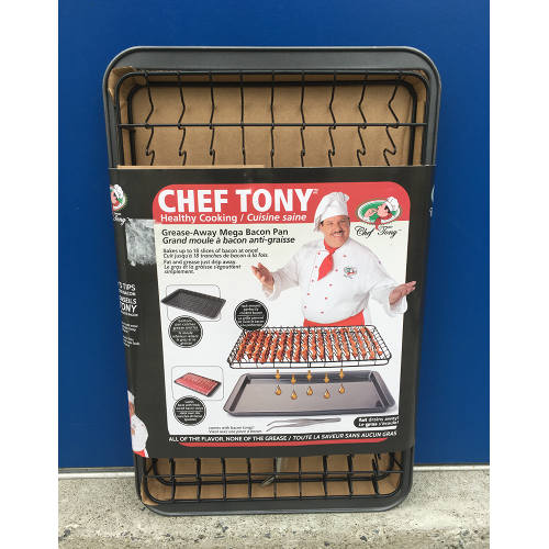 CHEF TONY NON-STICK GREASE-AWAY MEGA BACON PAN 0818847014186