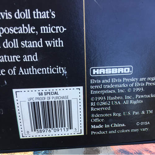 Elvis Presley '68 Special Doll #9146 Never Removed from Box 1913 by Hasbro 12in barcode.