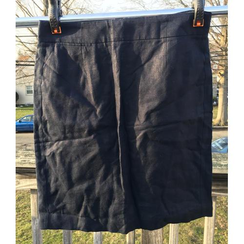 J Crew Baird McNutt 100% Linen Skirt Size 8 Blue Womens