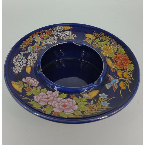 Japanese Kutani Blue Floral Porcelain Ashtray-Candy or Trinket Dish