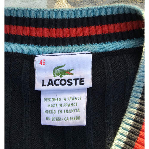 Lacoste V-Neck Sweater Blue Size 46 Made in France back size
