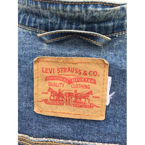 Levis Strauss Womens Collarless Blue Denim Jean Jacket Blazer red tag Large