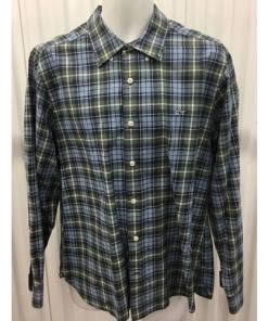 Vineyard Vines Button Down Collegiate Shirt Size Large multi color forest green, skyblue