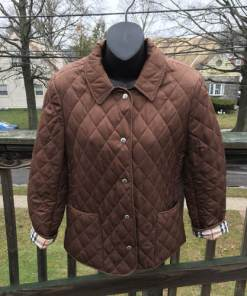 burberry dark brown quilted jacket made in england size small