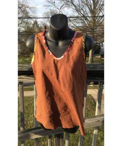 nothing matches Brown Tank Top multi color trim lined size 1 made in usa