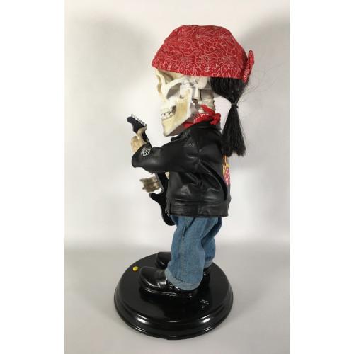 Gemmy Dancing Skeleton Halloween Guitar Biker Singing Dancing ZZ Top La Grange