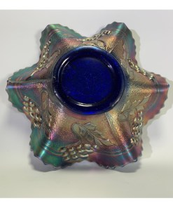 Cobalt Blue Carnival Glass Bowl Ruffled Edges - 7