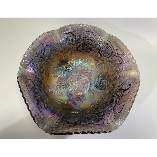 Imperial Open Rose Iridescent Purple Amethyst Large Footed Carnival Glass Bowl
