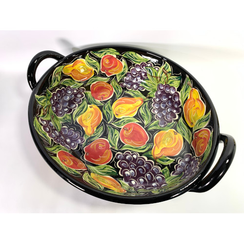 Thanksgiving Hand Painted Large Oval Serving Tray with Handle