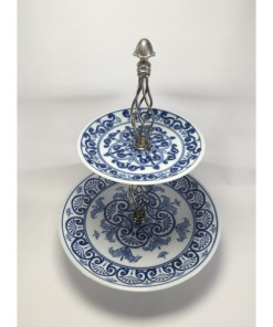 Bombay Company China Cobalt Blue Pastry Stand