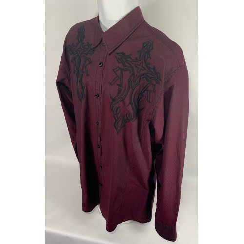 Roar Men's Buckle Burgundy Red Embroidered Shirt