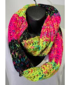 Renee's NYC Multicolor Knit Infinity Scarf Pink