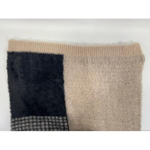 Wide Colorblock Faux Fur Scarf