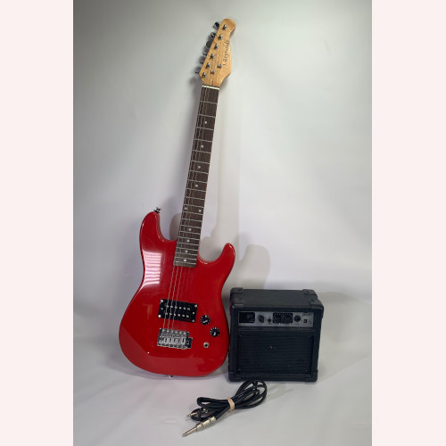 "J Reynolds Electric Guitar Red Peavey GT5 Electric Guitar Combo Battery Power Practice Amp 4"" Speaker"