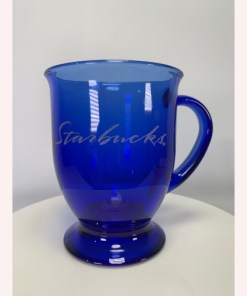 Starbucks 16oz Anchor Hocking Cobalt Blue Glass Footed Coffee Cup USA