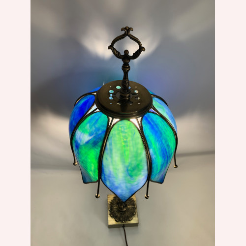 Underwriters Laboratories Cobalt Blue Stained Glass Table brass Lamp