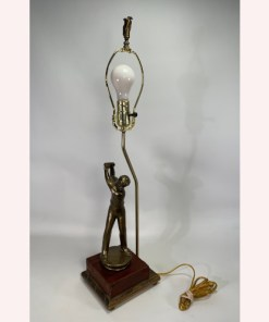 Bronze Swinging Golfer Figural Table Lamp