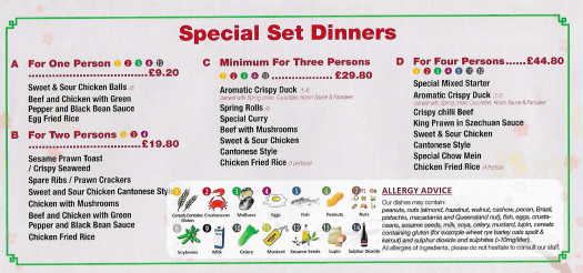 Special set dinners