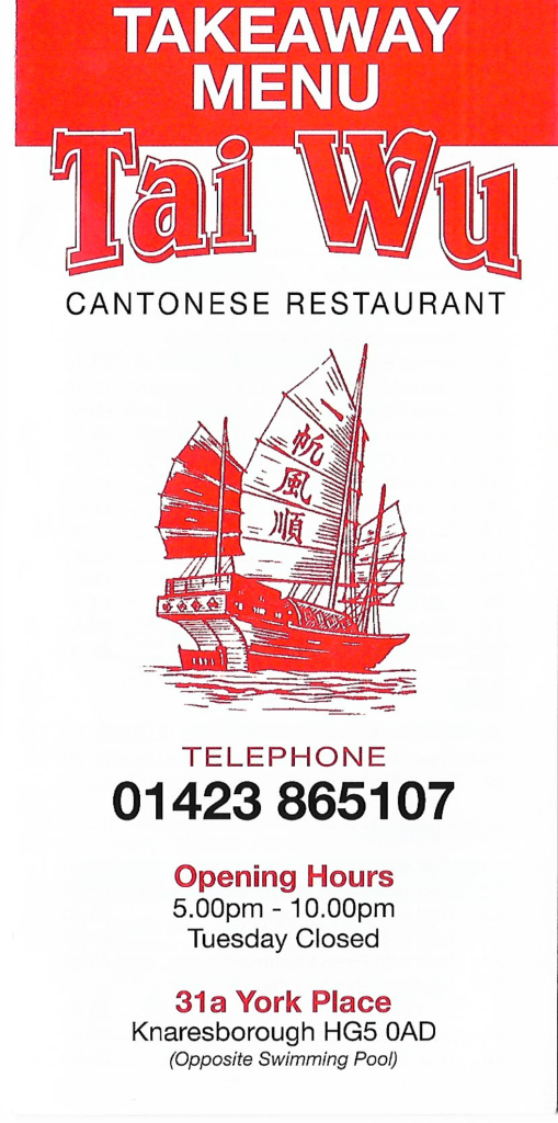 Tai Wu Cantonese Takeaway Menu, Knaresborough, Harrogate