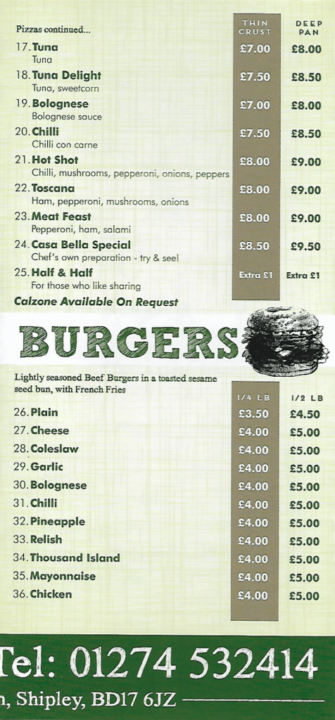 Pizzas and burgers menu, casa bella baildon