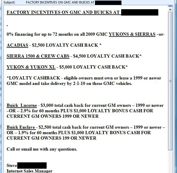 second car dealer response