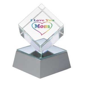 """I Love You Mom"" Lighted Crystal Cube With Gift Box"