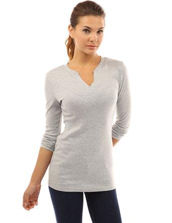 Notch Neck Long Sleeve Tunic Knit Top: $32