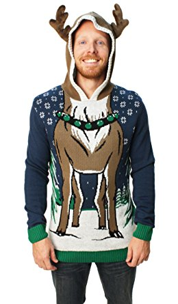 therefore we share this unique christmas idea of ugly christmas sweater hooded reindeer sweater - Unique Christmas Sweaters