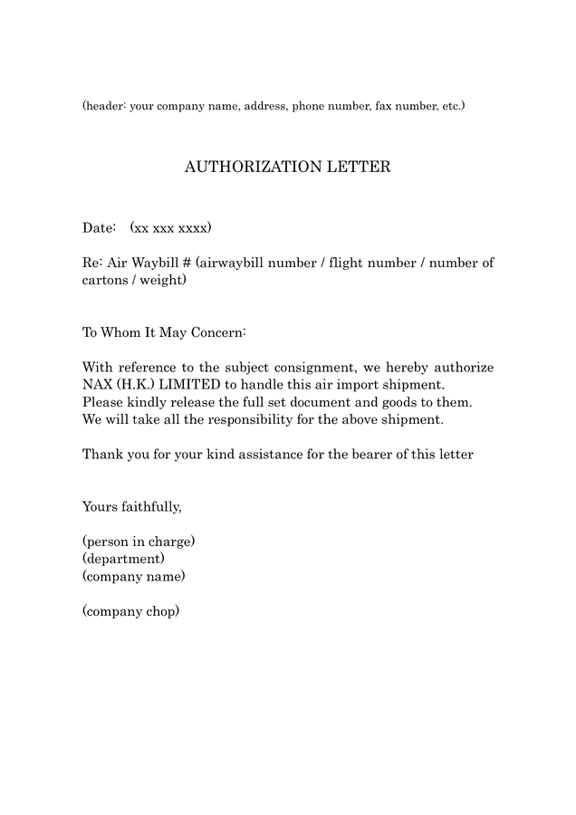 sample of authorization letters