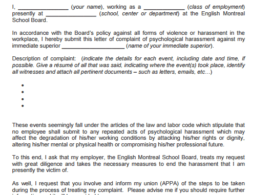 5 harassment complaint letters find word letters a harassment spiritdancerdesigns Choice Image