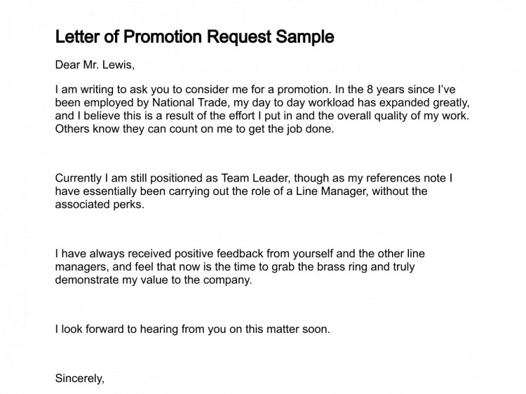 requesting a promotion letter