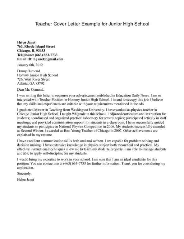 6+ Teacher Resume Cover Letters – Find Word Letters
