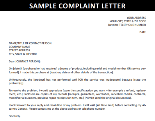 writing a complaint letter to a company