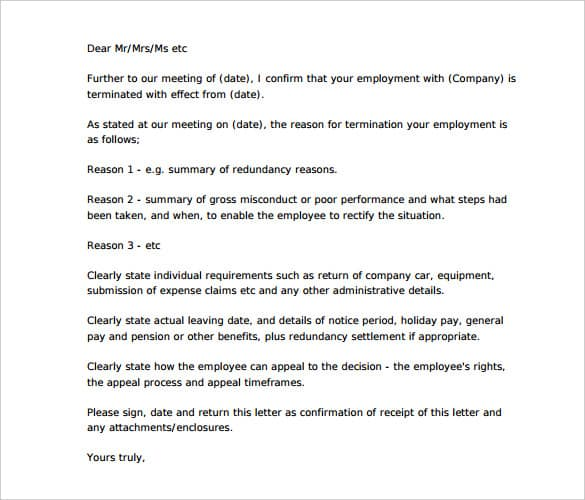 Termination Letter Sample 02 ...