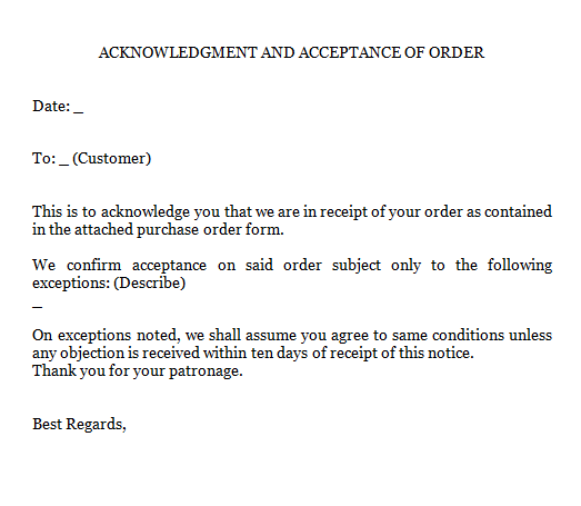 4 Acknowledgment Of Order Letters