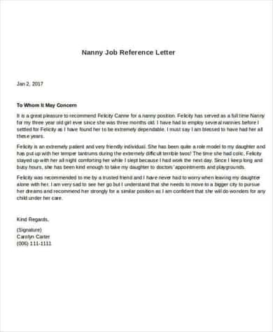 8 Sample Nanny Reference Letters