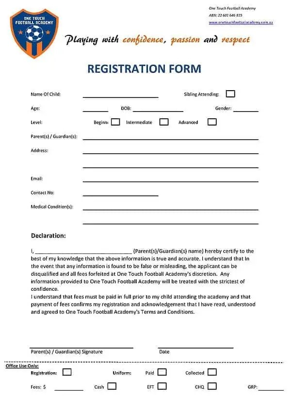 Registration form student registration form example registration academy registration form templates find word templates pronofoot35fo Image collections