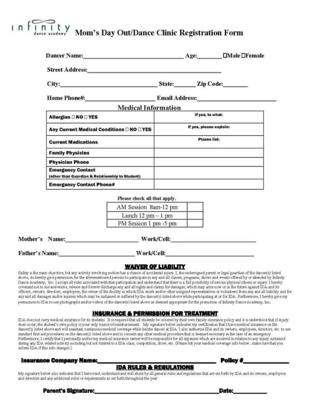 Academy Registration Form Template 6.