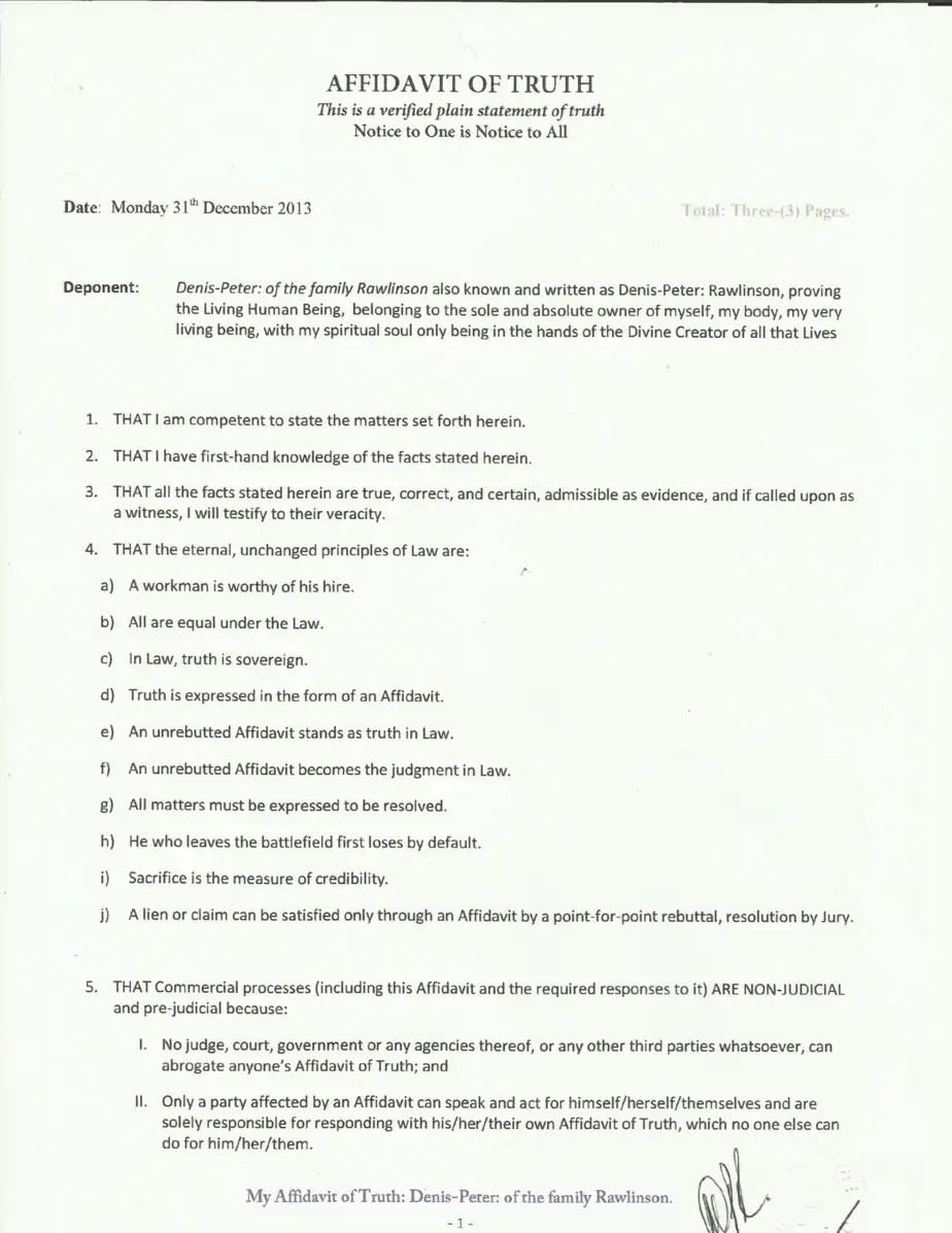 Affidavit Of Truth Template 2.  Affidavit Of Truth Template