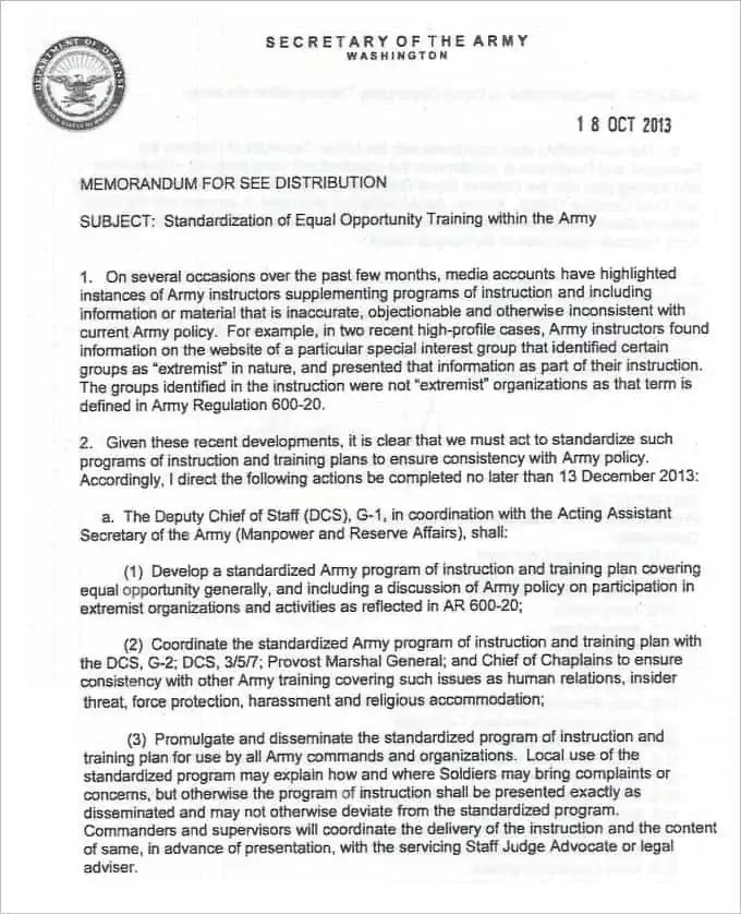 Army Memorandum Templates   Find Word Templates