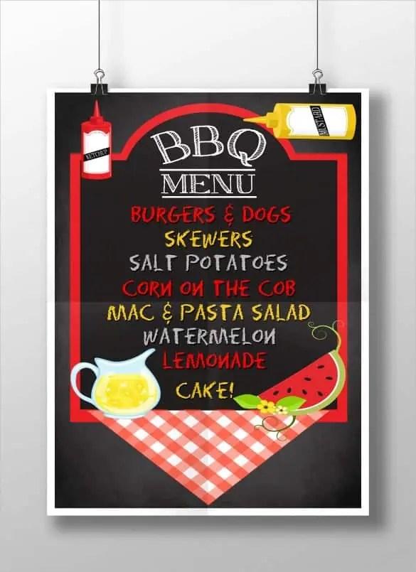 bbq menu templates